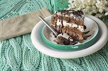 Chocolate cake on green tissue. muss