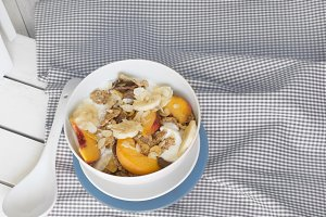 Breakfast in bed tray cereal, peach