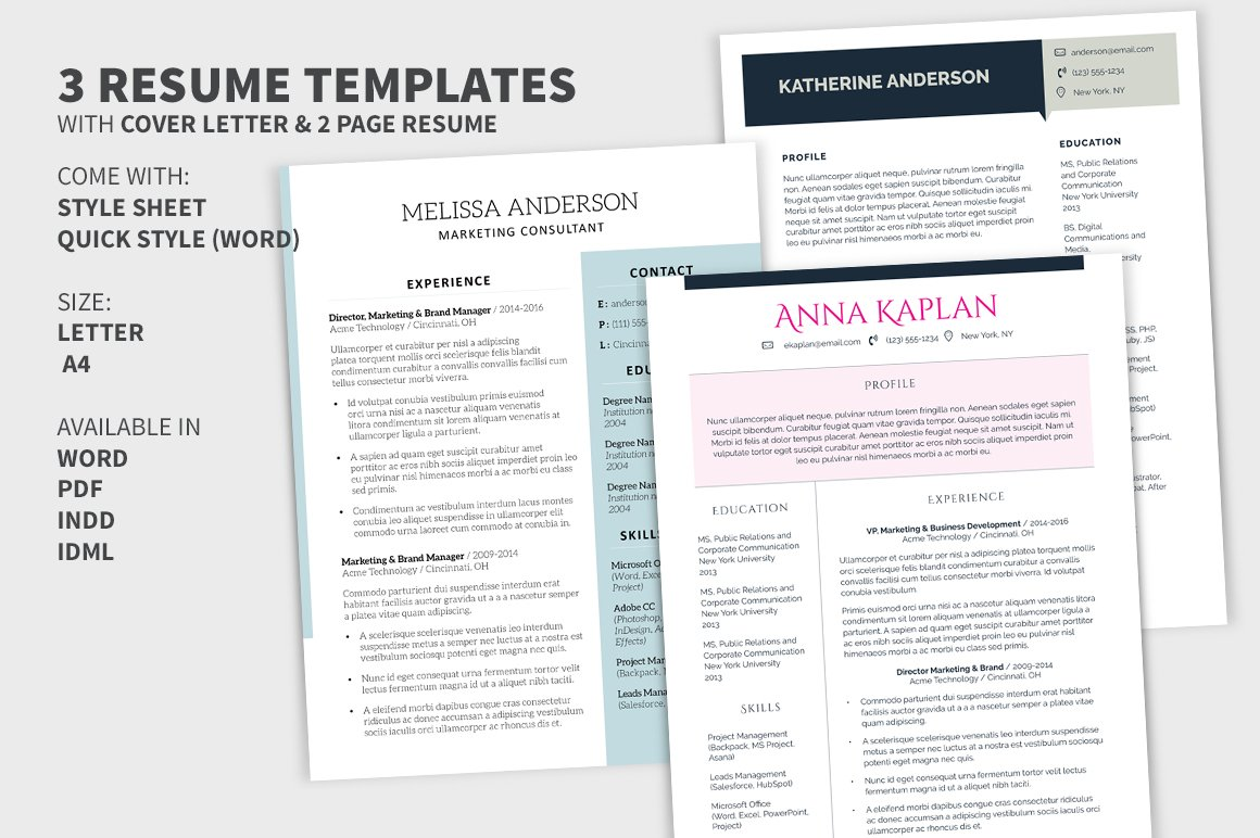 2 Page Cover Letter from images.creativemarket.com
