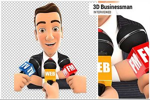 3D Businessman Being Interviewed