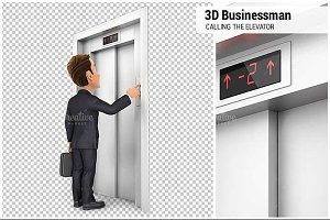 3D Businessman Calling the Elevator