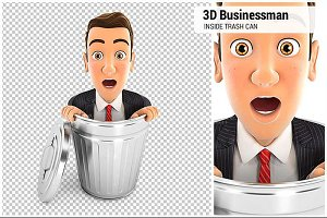 3D Businessman Inside Trash Can