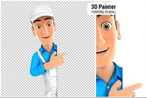 3D Painter Pointing to Right Wall