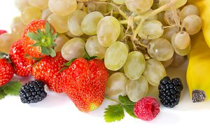Mix of fruits on white background