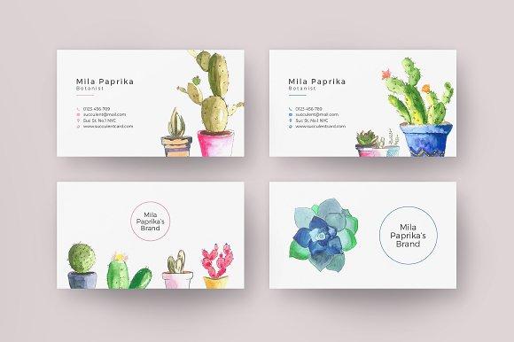 Watercolor Succulent Business Card Business Card Templates