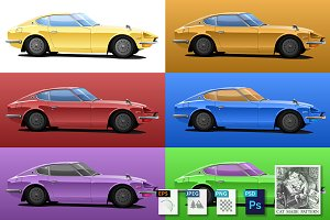 Car in pop art style