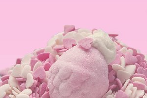 marshmallows, pink and white, on sma