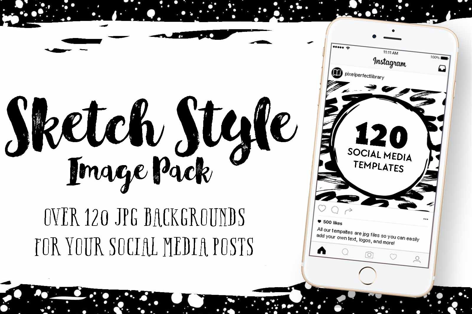 Sketch Style Social Media Image Pack Templates Creative Market
