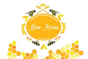 Bees Knees -Handpainted Graphics