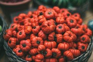 Basket with red eggplants