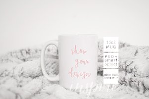 15oz Ceramic Mug Cozy Mockup PSD
