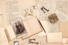 vintage accessories, letters, photo