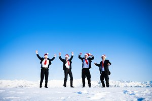 Happy business people in wintertime