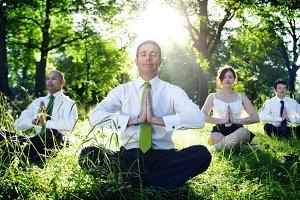 Business people meditation