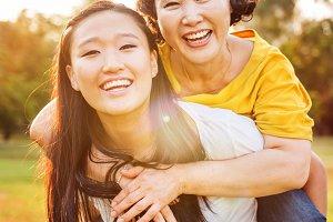 Mother & daughter enjoying together