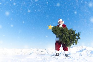 Santa carryying a christmas tree