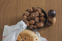 Bread and walnuts. Homemade