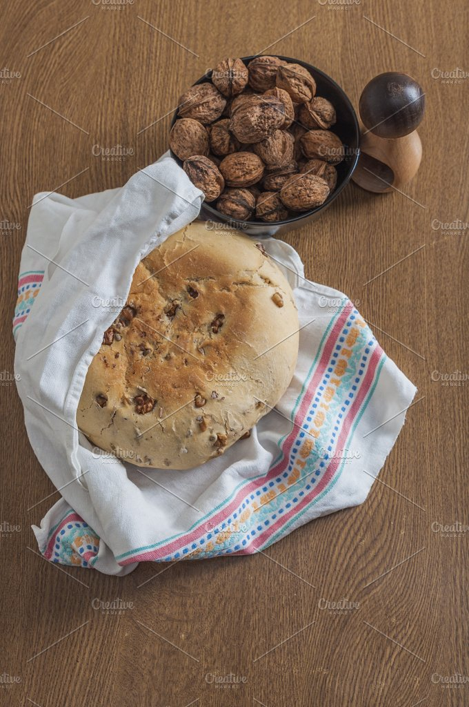 Bread and walnuts. Homemade - Food & Drink