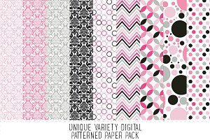 Pink & Black Pattern Paper Pack - 17