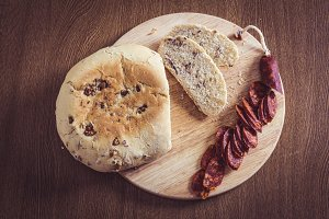 Homemade walnut bread with sausage