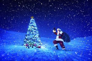 Santa claus holding lantern