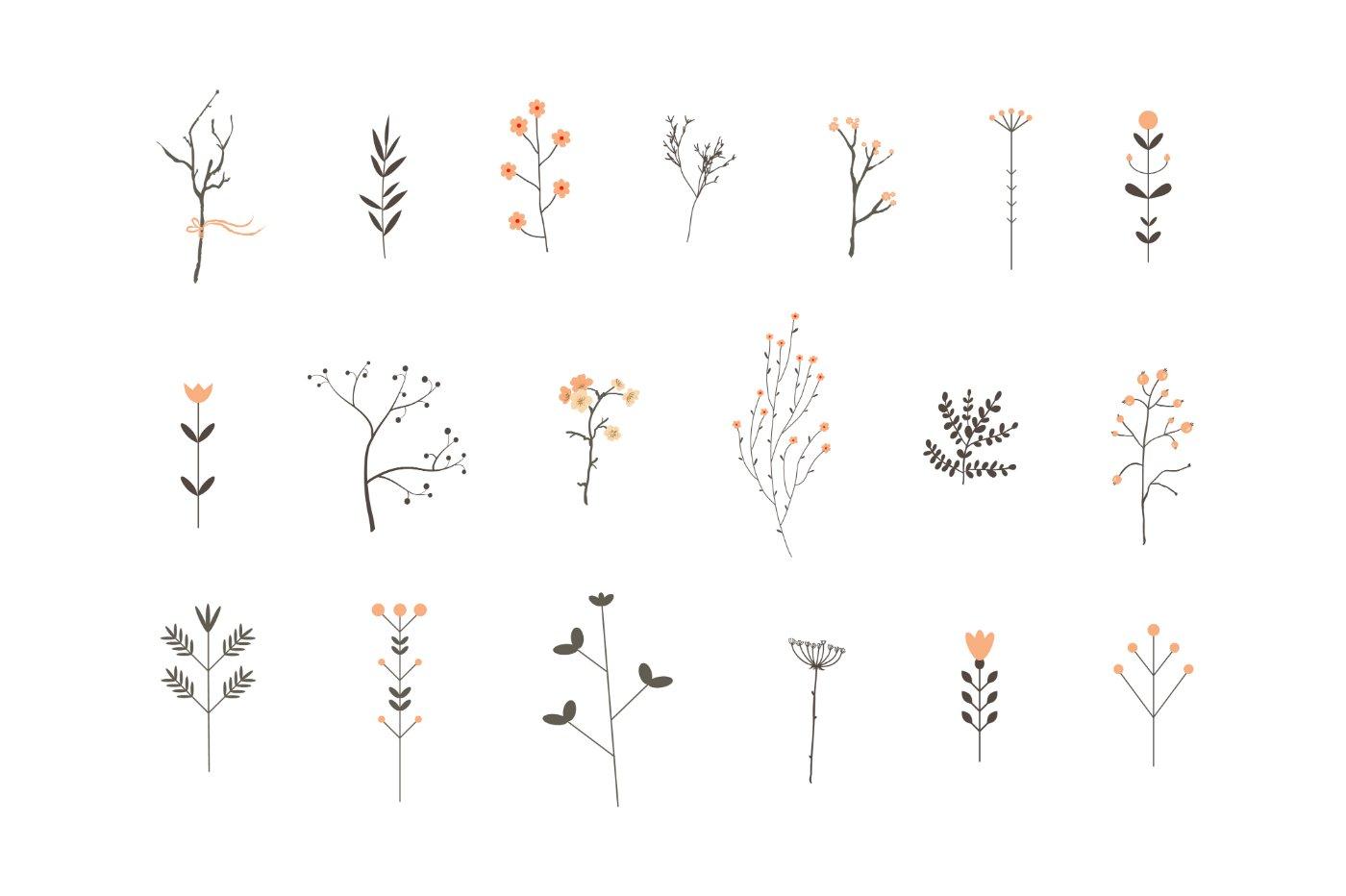 Romantic branches vector set illustrations creative market - Cadre photo dessin ...