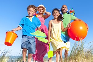 Cheerful family having fun