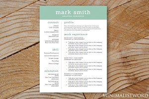Resume Template Blue Green - MS Word