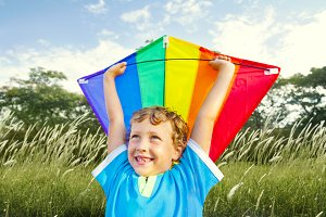 Boy with the kite in the park