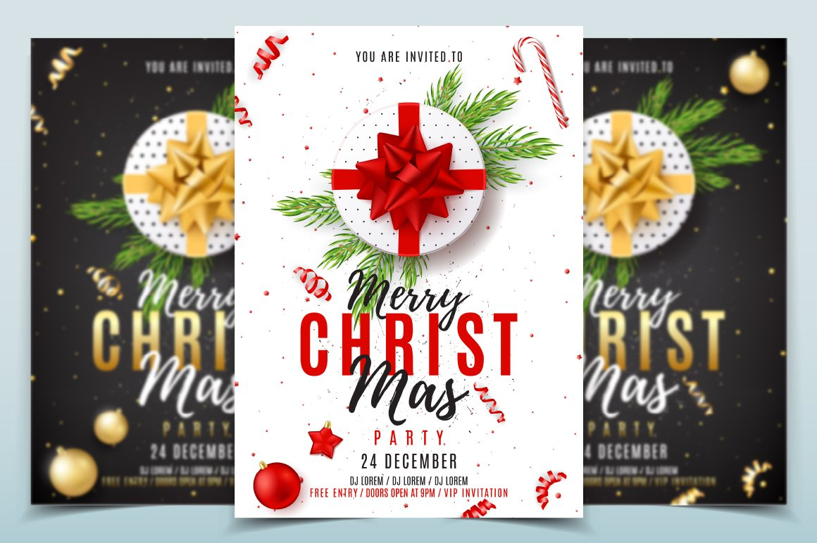 merry christmas party poster flyer templates creative market