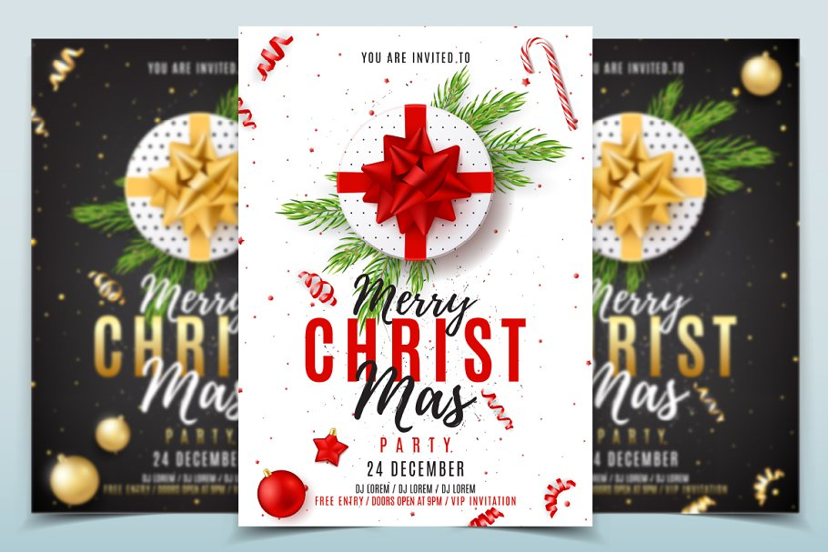 Christmas Party Poster.Merry Christmas Party Poster Flyer Templates Creative Market