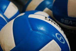Blue and White Volleyballs