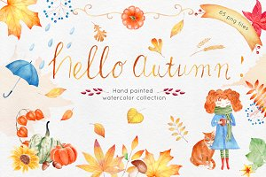 Watercolor Autumn Clipart Colection