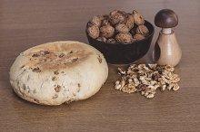Bread, nutcracker and walnuts