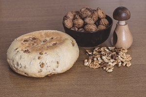 Bread, nutcracker and walnuts
