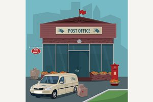 Exterior of post office and car of postal service