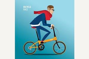 Fashionable man rides on a folding bike