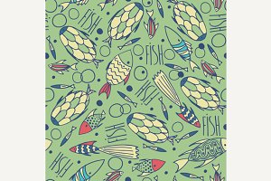 Green pattern with fishes in a chaotic manner