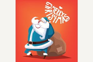 Merry Christmas blue Santa Claus with gift bag