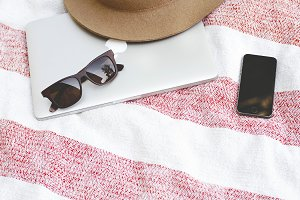 Blogging at the Beach Stock Photo