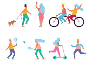 Set of Peoples Activities Vector Illustration