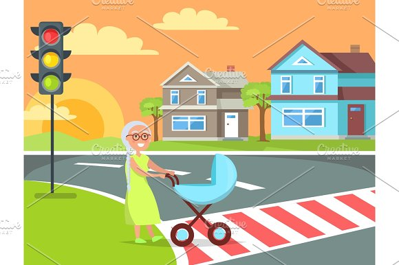Grey Hair Lady with Pram Going on Crosswalk Vector