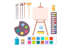 Various Art Supplies Set Isolated Illustration
