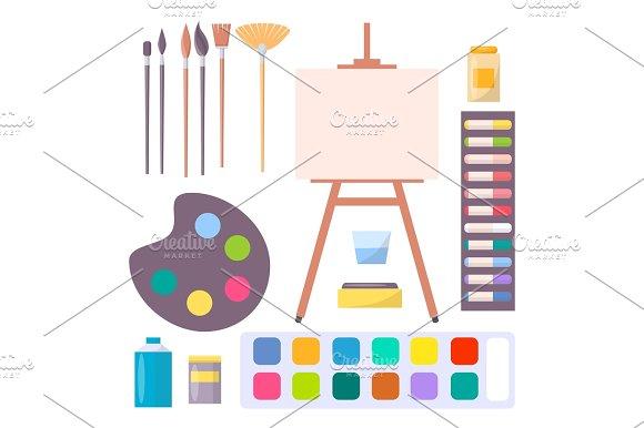 Various Art Supplies Set Isolated Illustration