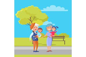 Mature Couple Holding Children Grandpa and Grandma