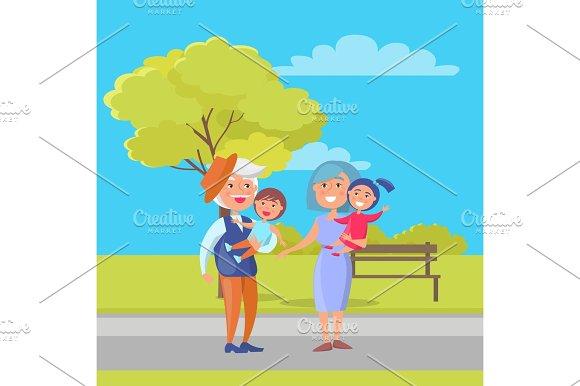 Mature Couple Holding Children Grandpa and Grandma