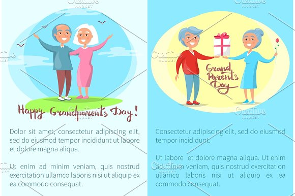 Happy Grandparents Day Posters with Senior Couples