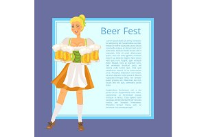 Beer Fest Poster Depicting Blonde Woman with Mugs