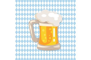 Traditional Glass of Beer with White Foam Vector