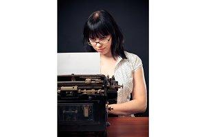 Vintage Girl With Typewriter